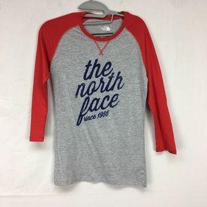 The North Face Grey 3/4 sleeve Baseball T-shirt